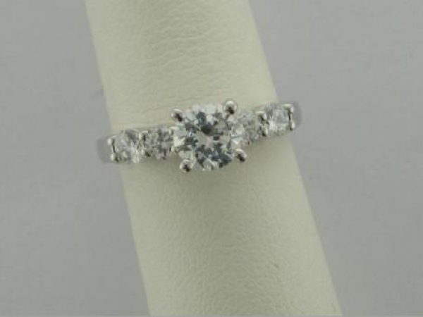 Engagement Ring - 14Ktw Dia Engagement Ring (.63Tw) - Sterling & Cz Sample Ring