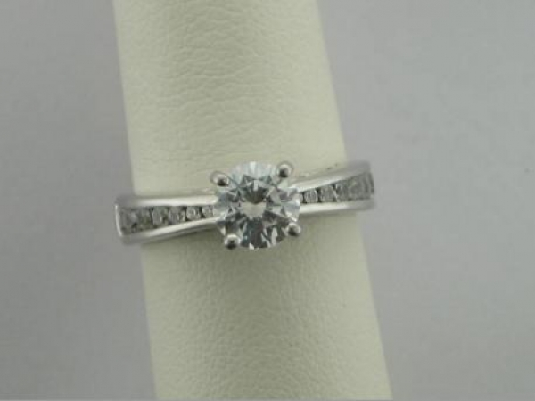 Engagement Ring - 14Ktw Dia Engagement Ring (.50Tw) - Sterling & Cz Sample Ring, Caroline