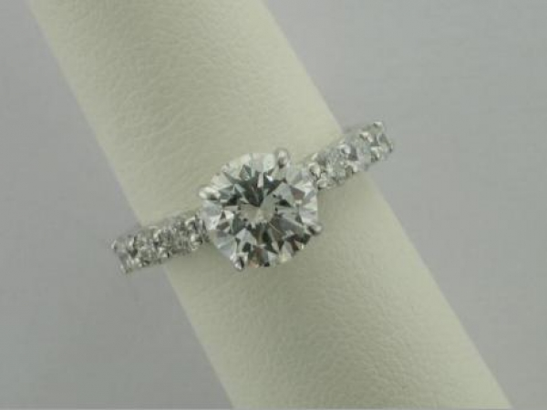 Engagement Ring - 14K WG 2.04ct. RB, EGL G,SI1 of Good Cut,  8 RB 1.20ct.tw. Estate Piece