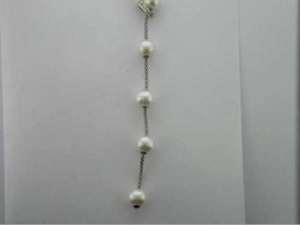 "Necklace - Sterling Silver 24"" FWP Smart Pearl Lariat W/ White Topaz"