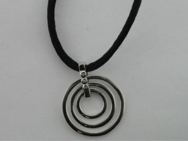 "Silver Necklaces/Chains - sterling 3 ring circle with clear CZ on 18"" cord"