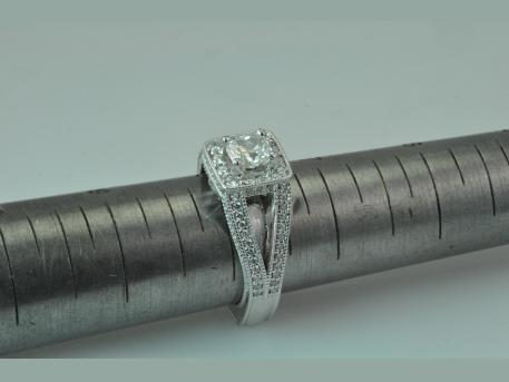 Custom Engagement Ring - 14KWG Ladies Custom Engagement Ring.  The beautiful setting gives this diamond a perfect home.