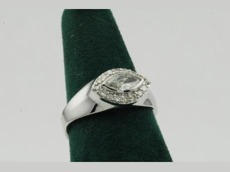 Custom Remount - 14KWG Ladies Diamond Ring.  This ring was made utilizing the customers diamonds.  A different look to a Marquis Diamond.